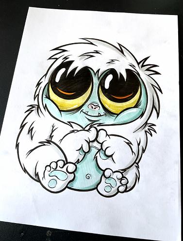 Baby Yeti - Original Zeichnung - adrian.double.u