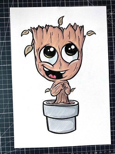BABY GROOT - Original Zeichnung - adrian.double.u