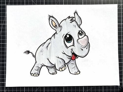 Nashorn - Original Zeichnung - adrian.double.u