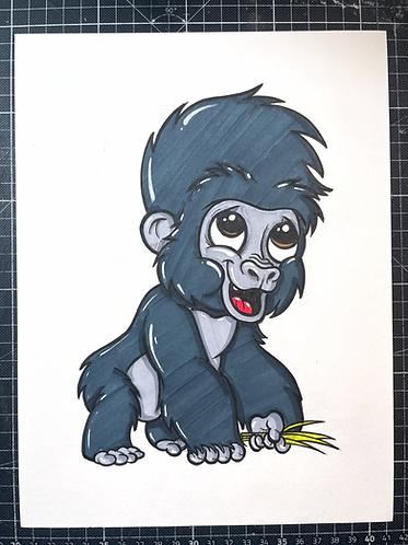 BABY GORILLA - Original Zeichnung - adrian.double.u