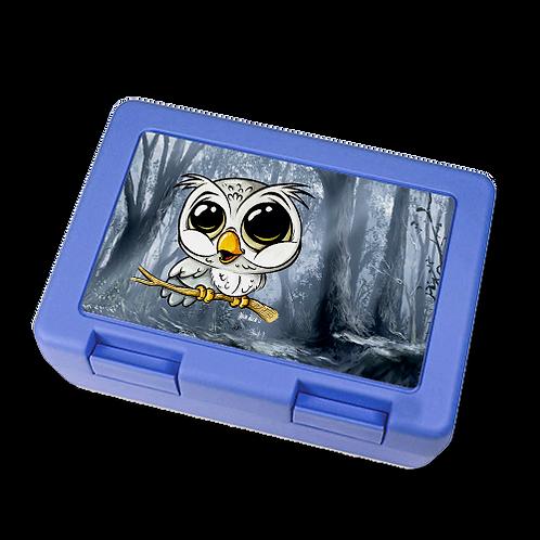 Eule  - Brotzeitbox - BLAU - *Mit Wunschname*