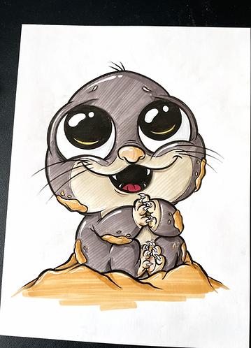 Baby Maulwurf - Original Zeichnung - adrian.double.u
