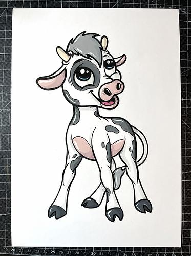 BABY KUH - Original Zeichnung - adrian.double.u