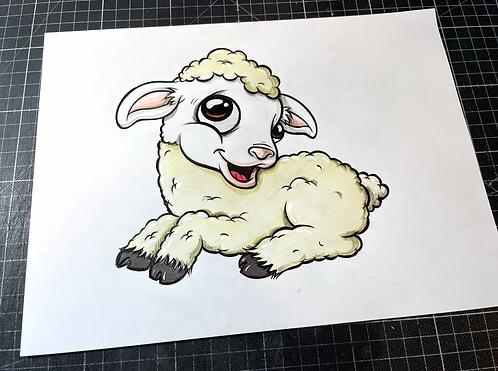 kleines Lamm - Original Zeichnung - adrian.double.u