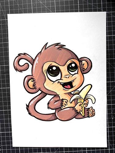 BABY AFFE - Original Zeichnung - adrian.double.u