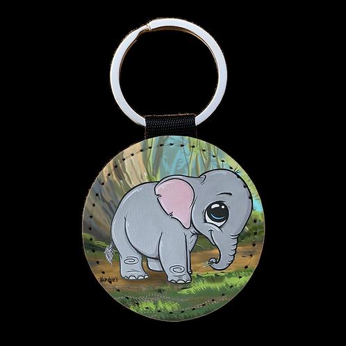 Baby Elefant - Kunstleder Schlüsselanhänger