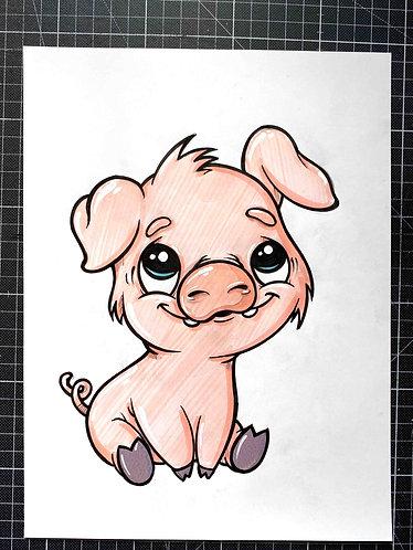 BABY SCHWEIN - Original Zeichnung - adrian.double.u