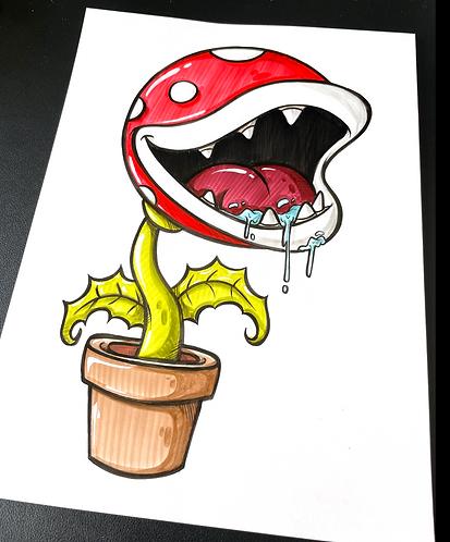 Baby Piranha Pflanze - Original Zeichnung - adrian.double.u