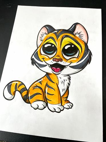 Baby Tiger - Original Zeichnung - adrian.double.u
