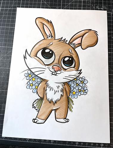 Hase mit Blumen - Original Zeichnung - adrian.double.u