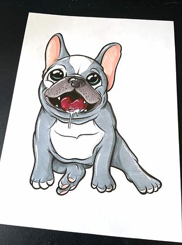 Baby Französische Bulldogge - Original Zeichnung - adrian.double.u