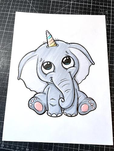 Elefantenhorn  - Original Zeichnung - adrian.double.u
