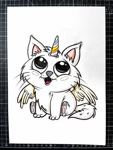 Einhorn Katze  - Original Zeichnung - adrian.double.u