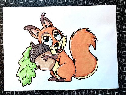 Eichhörnchen - Original Zeichnung - adrian.double.u