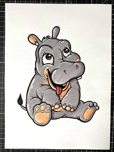 Nilpferd - Original Zeichnung - adrian.double.u