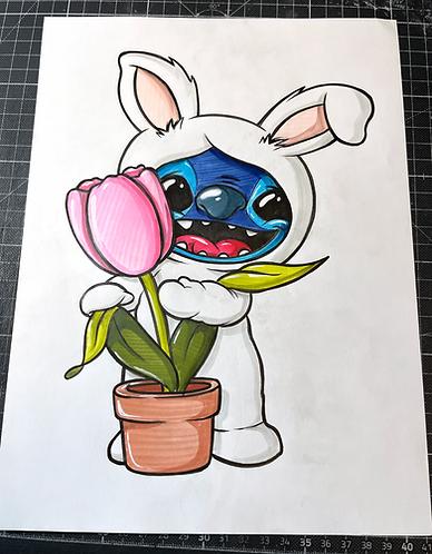 Osterhasen Stitch - Original Zeichnung - adrian.double.u