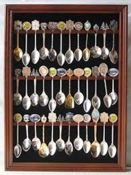 Souvenir Spoon Display Case Rack Cabinet Holder Shadow Box, Glass Door