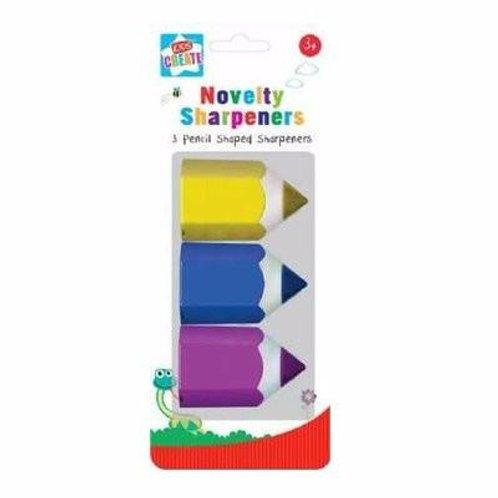 3 Pieces Kids Create Pencil Shaped Sharpeners - Multicolour
