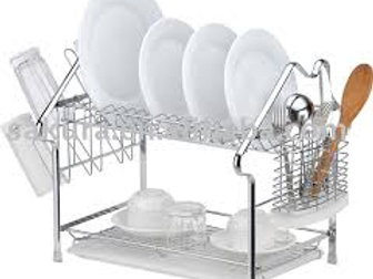 Callas Height Adjustable 3-Tier Dish Rack Kitchen Organiser