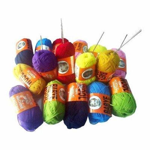 16pcs colorful knitting yarn + 12 crochet pins