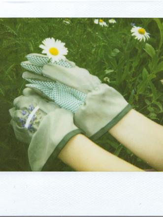 Gartenhandschuhe aus Seide mit Stickerei