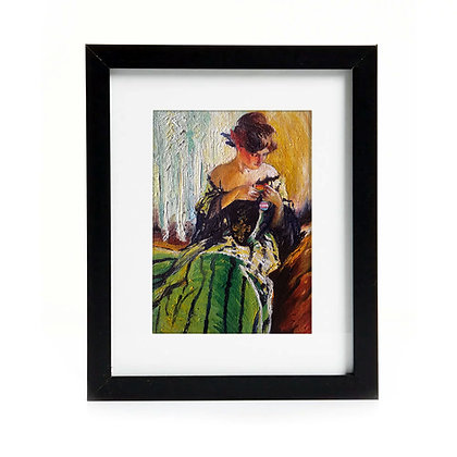 Original Framed Oil Painting - Study In Black And Green