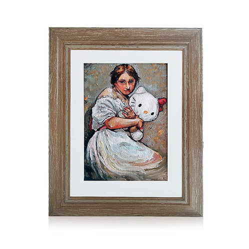 Original Framed Oil Painting - Portrait Of A Girl