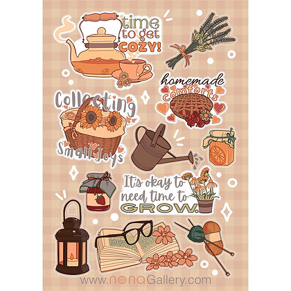 Sticker Sheet Large - Cottagecore