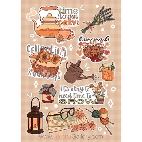 Sticker Sheet Large - Cottagecore