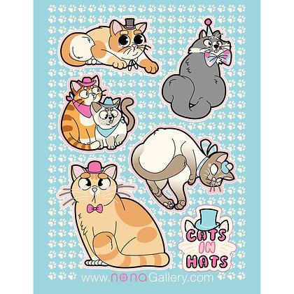 Sticker Sheet - Cats In Hats