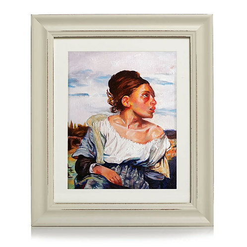 Original Framed Oil Painting - Orphan Girl at the Cemetery