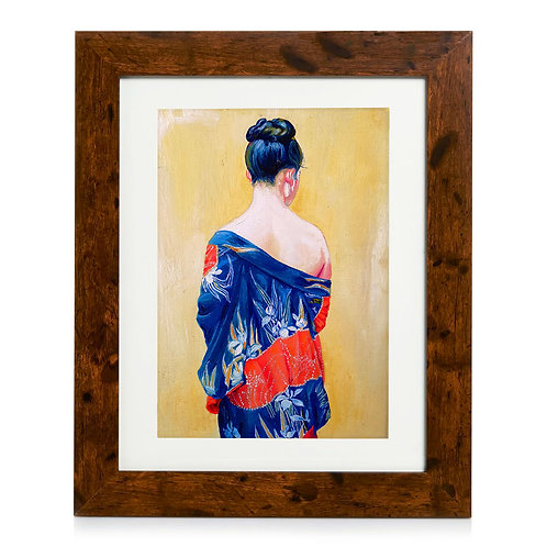 Original Framed Oil Painting - Kimono With Iris Pattern