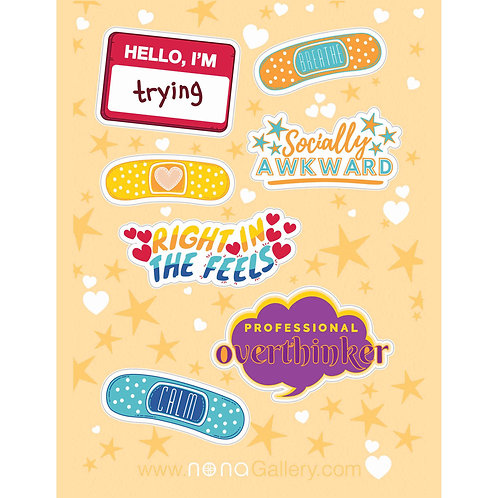 Sticker Sheet - Socially Awkward
