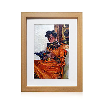 Original Framed Oil Painting - Woman Reading