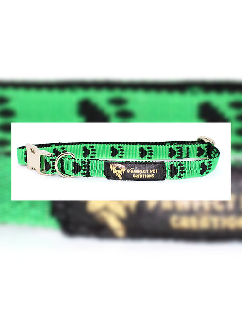 Reverse Green Paws 15mm Collar