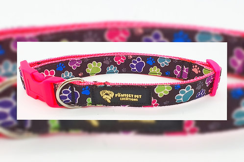 Pink Happy Paws 15mm Collar