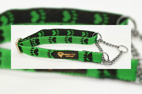 Reverse Green Paws 15mm Martingale