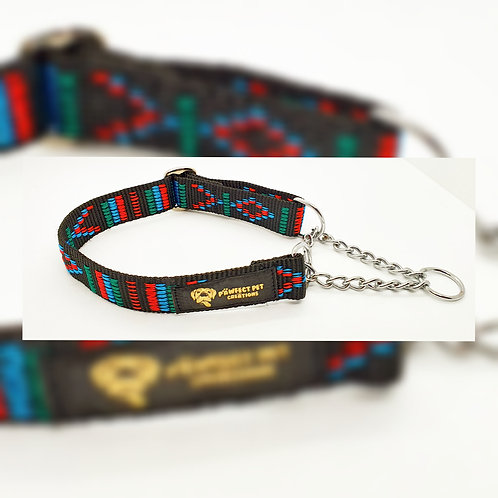 Black Indian Motif Martingale Collar