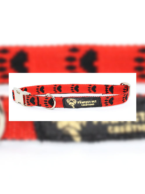 Reverse Red Paws 15mm Collar