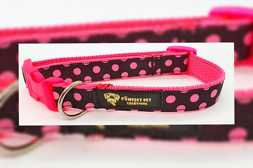 Pink Polka 25mm Collar
