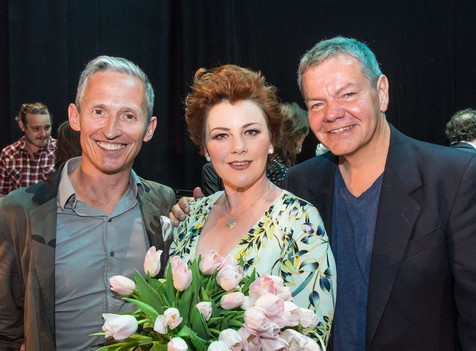 Sophie-Louise Dann with George Stiles (left) and Anthony Drewe
