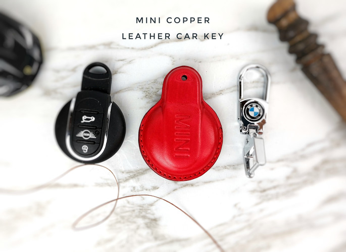 mini copper bmw  皮革車匙套