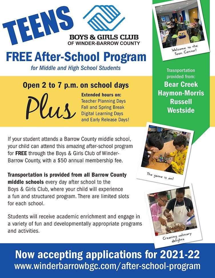 Teen after-school program Boys & Girls Club of Winder-Barrow County