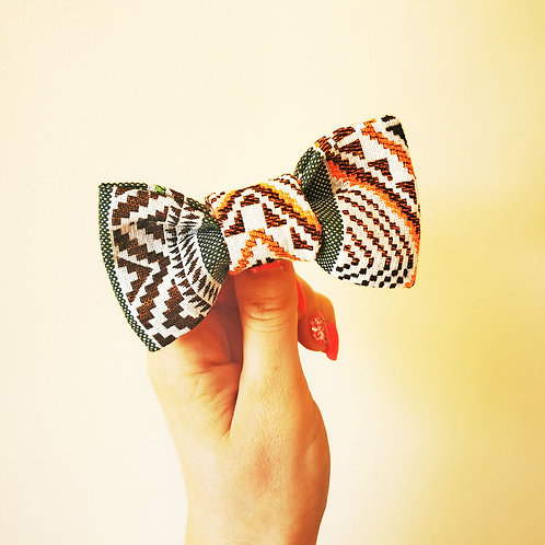 OLIVE & PEPPER TRIBAL DOG BOW TIE