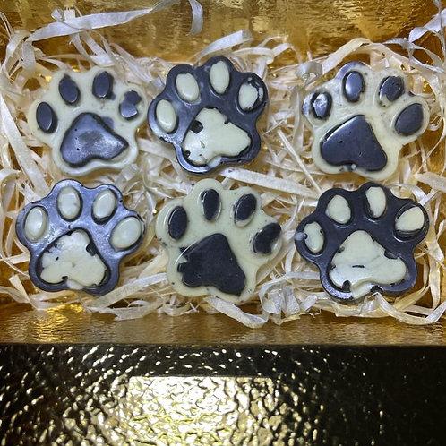 White & dark dog chocolate paw treats