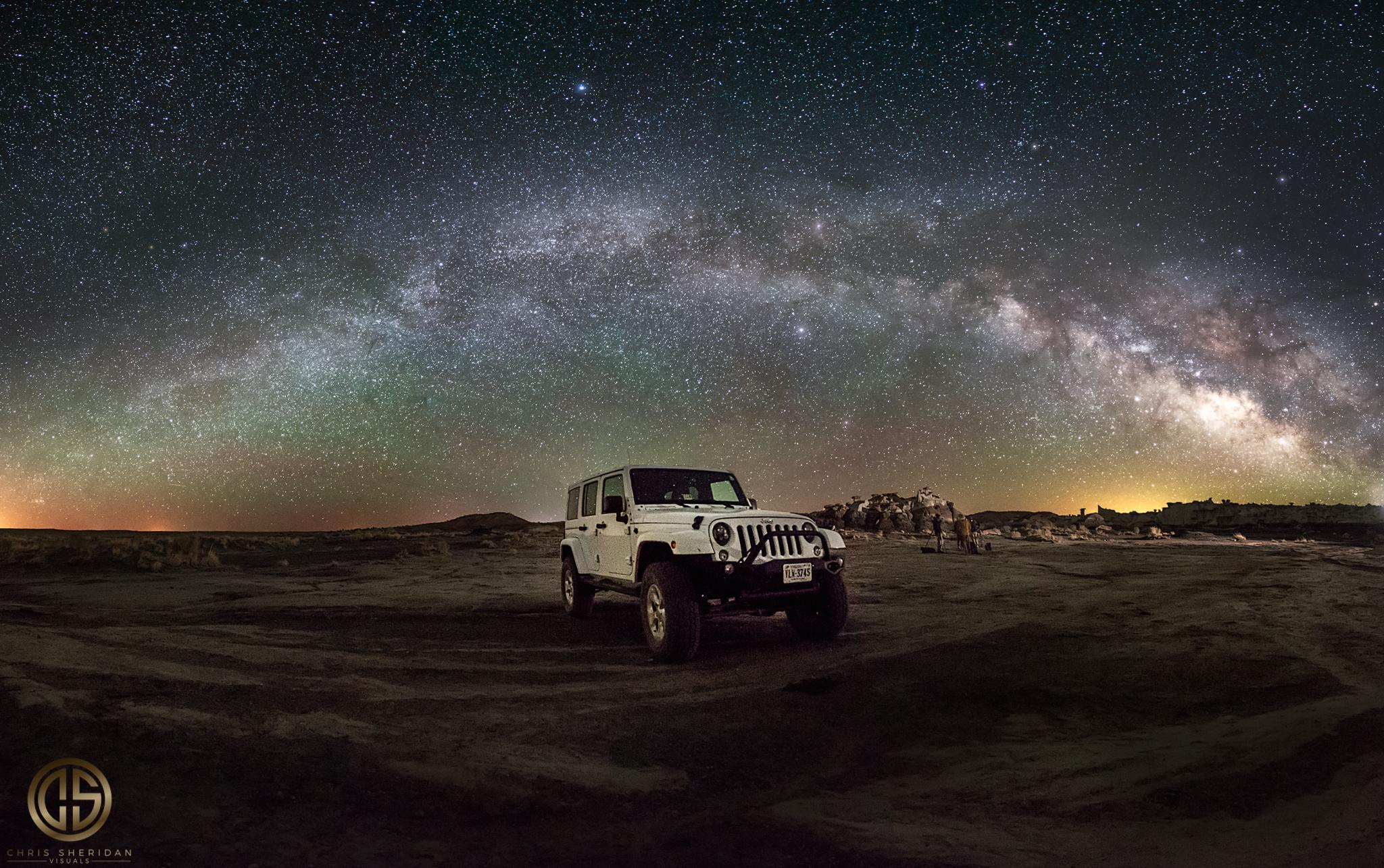 Night Sky Panorama of Jeep Wrangler