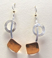 Jaunty Silver and Copper Earrings