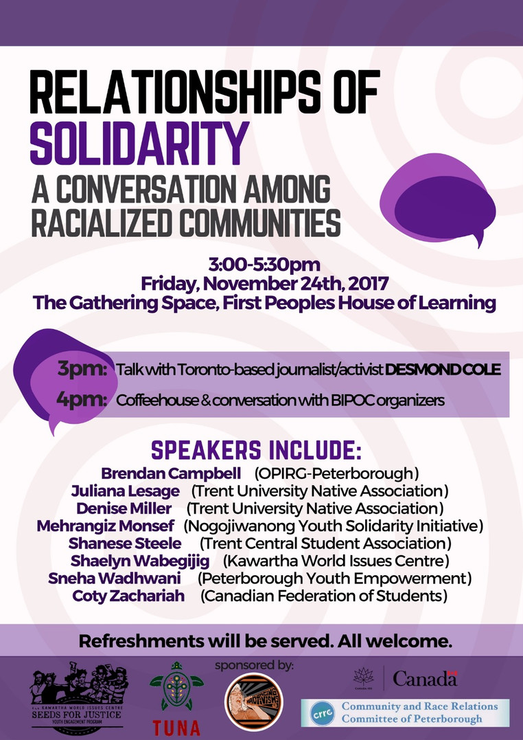 November 24 @ 3pm | Relationships of Solidarity: A Conversation among Racialized Communities