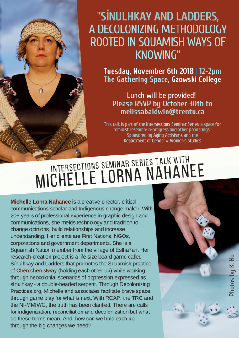 November 6 @ 12-2pm | Intersections talk with Michelle Lorna Nahanee (Squamish Nation)