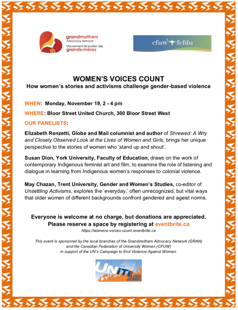 "November 19, 2-4pm | May on a panel at a Grandmothers Advocacy Network event, ""WOMEN'S VOICES C"